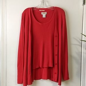 Talbot's Twin Holiday Red Tee/Cardigan Sweater Set